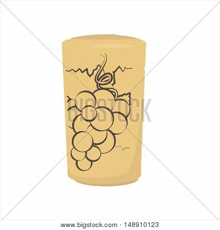 Vector illustration wine bottle cork with grape silhouette. Brown wine cork icon