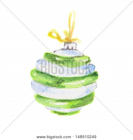 Watercolor white and green christmas toy. Bright and colorful toy for christmas tree. Wonderful retro toy.