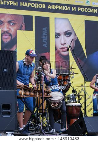 St. Petersburg, Russia - 13 August, Artists with national instruments Africa,13 August, 2016. Africa and the Russian Culture Festival on Krestovsky Island in St. Petersburg.