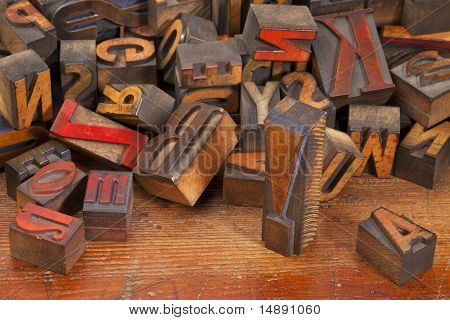 Letterpress Printing Blocks With Exclamation Point