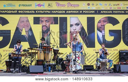 St. Petersburg, Russia - 13 August, Group of musicians with percussion instruments,13 August, 2016. Africa and the Russian Culture Festival on Krestovsky Island in St. Petersburg.