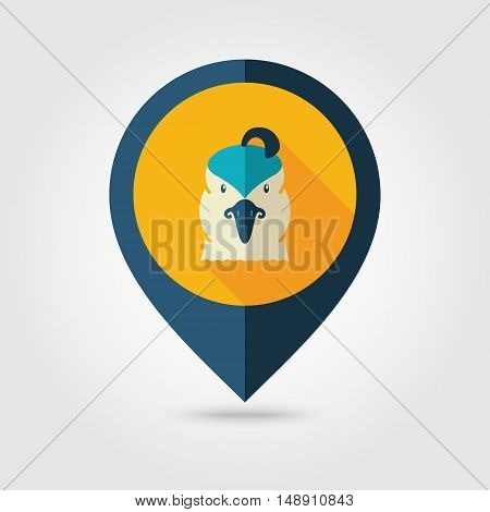Quail flat pin map icon. Map pointer. Map markers. Animal head vector symbol eps 10
