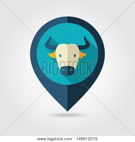 Spanish bull bison buffalo ox flat pin map icon. Map pointer. Map markers. Animal horned head vector symbol eps 10