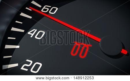 Glowplug Warning Light In Car Dashboard. 3D Rendered Illustratio
