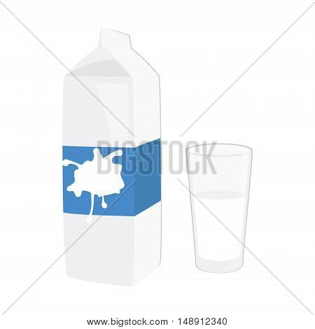 Vector illustration glass of milk and a carton of milk isolated on white background. Milk pack. Milk icon flat design