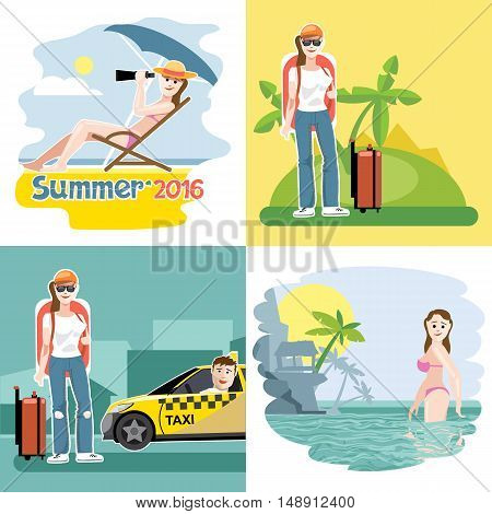 Digital vector touristic summer vacation destination set, girl at the beach, taxi, flat style.