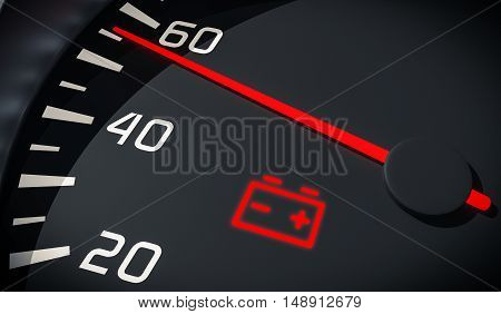 Discharged Battery Warning Light In Car Dashboard. 3D Rendered I