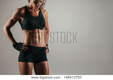 Attractive Muscular Woman With Strong Abs