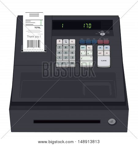Vector illustration electronic cash register isolated on white background. Cash register icon