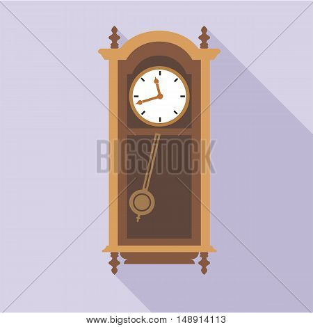 vector old clock in wooden furniture, over purple background, flat style