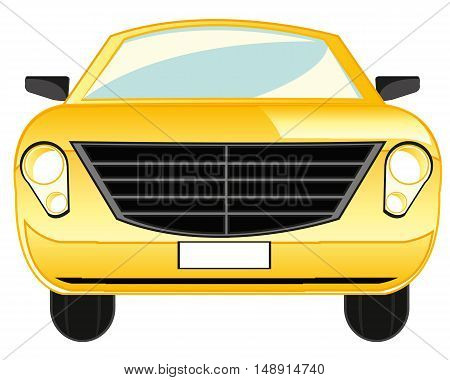 Yellow passenger car on white background is insulated
