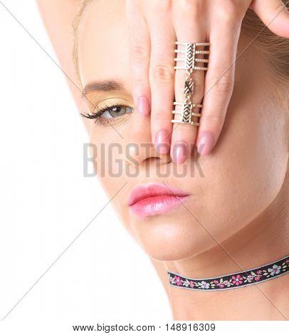 Young woman with choker, closeup