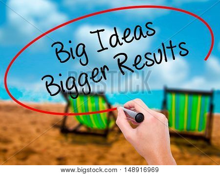 Man Hand Writing Big Ideas Bigger Results  With Black Marker On Visual Screen
