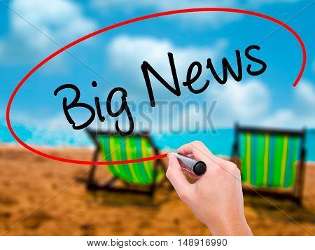 Man Hand Writing Big News With Black Marker On Visual Screen