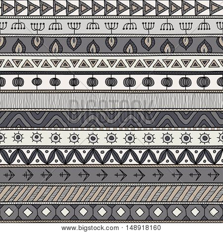 Tribal gray seamless pattern. indian or african ethnic patchwork style. Vector image for textile decorative background wrapping paper