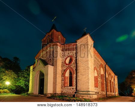 GUBANITSY, LENINGRAD REGION, VOLOSOVO DISTRICT, RUSSIA - SEPTEMBER 20, 2016: Kirch St. John the Baptist in Gubanitsah. Lutheran Church in the village Gubanitsy, parish center Kupanitsa Evangelical Lutheran Church of Ingria.