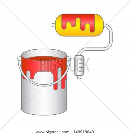 Can bucket with red paint and roller for painting . Vector illustration. Isolated on white background.