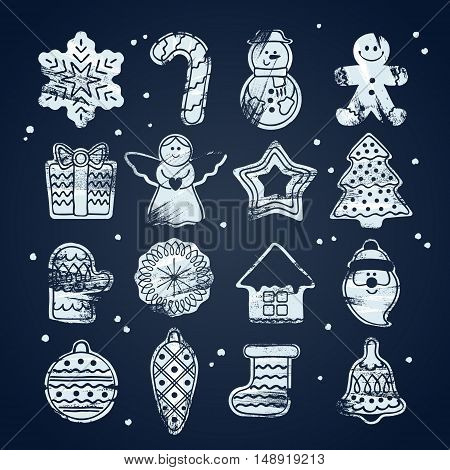 Beautiful Christmas hand drawn paint brush icons set. New year symbols - gingerbread man star santa snowflake christmas tree ball sock ant other holiday designs. Chalk board style.