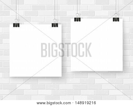 Posters On Binder Clips Mockup White Brick Wall Square