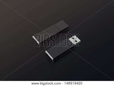Blank black usb drive design mockup 3d rendering opened and closed clipping path.
