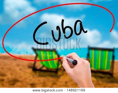 Man Hand Writing Cuba With Black Marker On Visual Screen