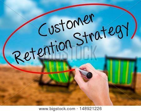 Man Hand Writing Customer Retention Strategy With Black Marker On Visual Screen