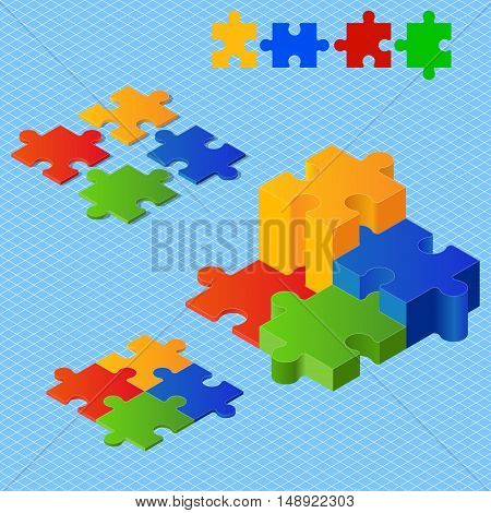 Puzzle pieces: red, green, blue, yellow: isometric