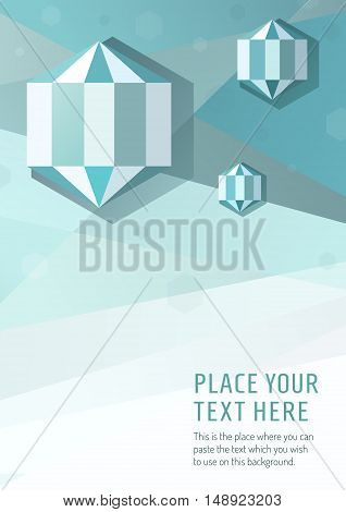Blue vector geometric graphic style background with hexagon diamond