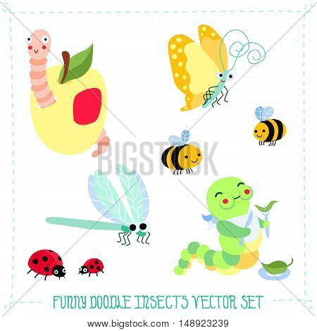Funny and cute doodle cartoon insects vector set
