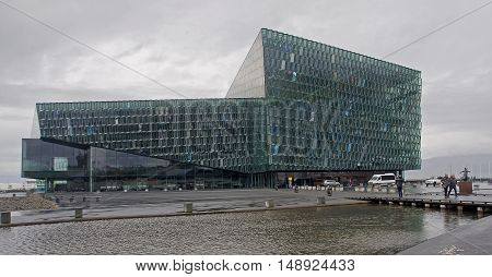 REYKJAVIK ICELAND - SEPTEMBER 15 2016: Harpa concert hall on 15 September 2016 in Reykjavik Iceland. Harpa is a concert hall and conference centre.