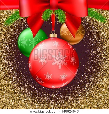 Gold Christmas balls with green fir branches and bow on shiny, glitter background. Realistic vector bright ball with snowflakes and red ribbon, editable eps 10