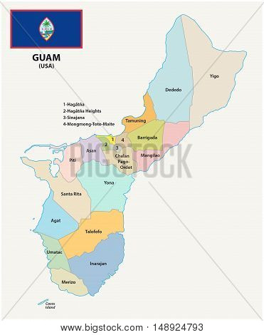 Guam administrative and political vector map with flag