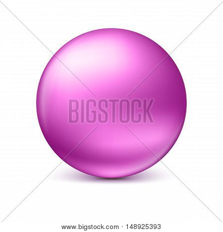 Pink glossy sphere isolated on white with shadow and reflections in the color of the sphere. Vector illustration for your design, easy to edit and change the size