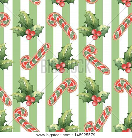 Watercolor Christmas seamless pattern 1. Handmade drawing. For registration of festive cards, wrapping paper, packaging.
