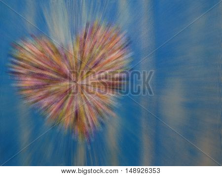 beautiful colorful heart on a blue background