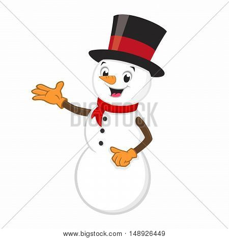 Vector illustration of cartoon snowman for design element
