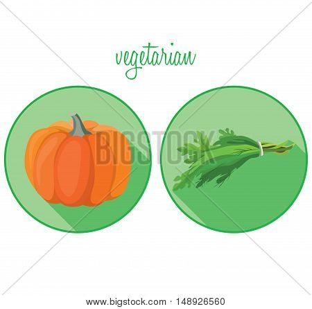 Vegetarian foods: pumpkin and greens. For your convenience each significant element is in a separate layer. Eps 10