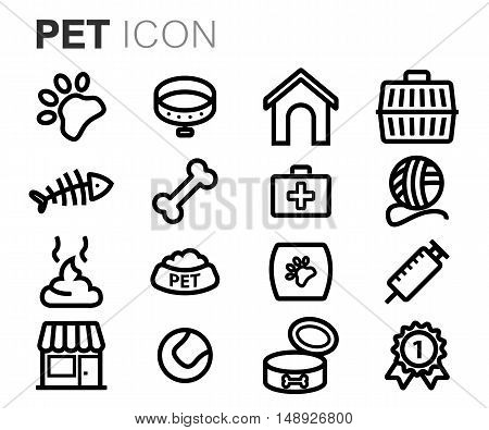 Vector black line pet icons set on white background