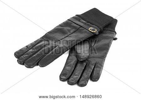 Black gloves isolated on white background