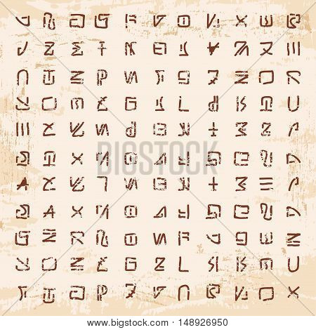 Stock Vector Alien hieroglyphics carved in stone left by aliens.