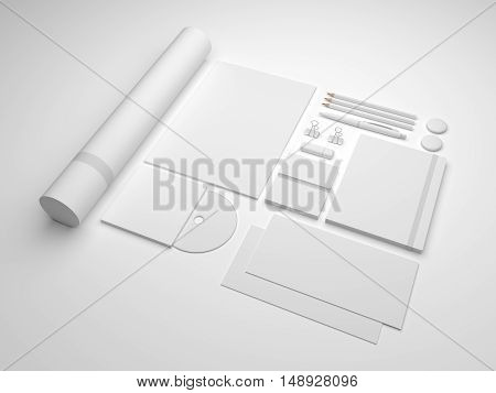 White 3d illustration brand mock-up template on gray. Set of branding stationery mockup with a notepad A4 letterhead envelopes and cd.