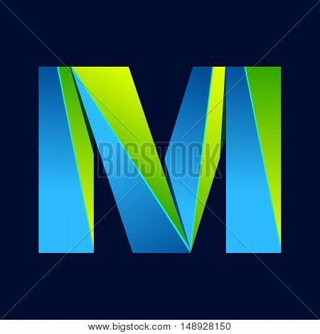 M letter line colorful logo. Abstract trendy green and blue vector design template elements for your application or corporate identity.