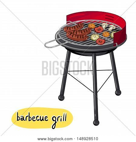 Barbecue grill concept. Barbecue with grilled sausages, mushrooms, tomatoes and other vegetables. BBQ grill party background. BBQ flyer, promo restaurant poster. Vector illustration. BBQ grill icon with barbecue sausage and bbq vegetable.
