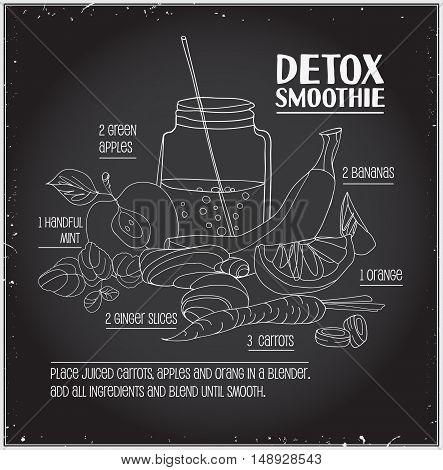 Detox smoothie recipe. Vector hand drawn illustration