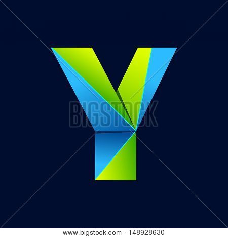 Y letter line colorful logo. Abstract trendy green and blue vector design template elements for your application or corporate identity.