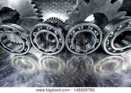 titanium and steel cogwheels and gears, bearings, aerospace engineering parts