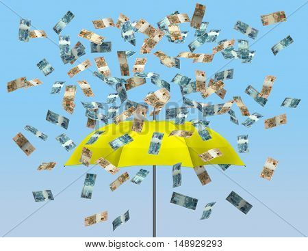 Umbrella and brazilian currency 3D money falling raining