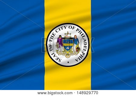 Flag of Philadelphia is the largest city in the Commonwealth of Pennsylvania United States. 3D illustration