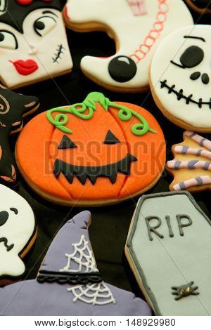 Halloween cookies with different shapes. Sweet tradition