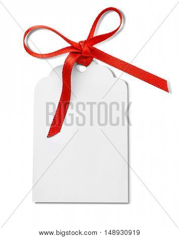Card with a red ribbon isolated on white
